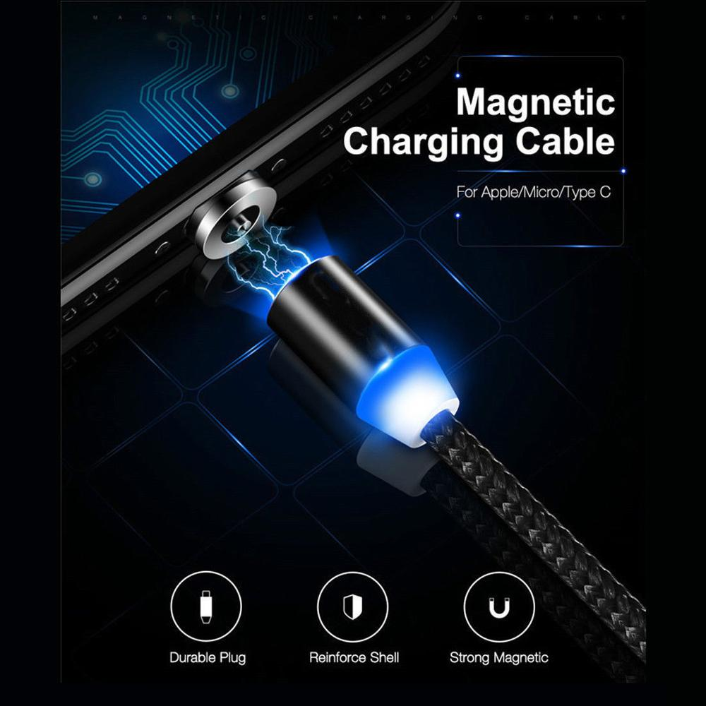 Braided <font><b>3IN1</b></font> Fast Magnetic Charger IOS <font><b>USB</b></font> Type C Micro <font><b>USB</b></font> Charging <font><b>Cable</b></font> 1m 2m 3m <font><b>Cable</b></font> For Android Cell Phone image