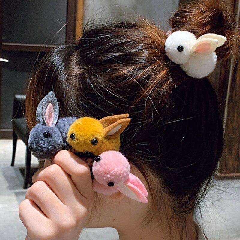 2 Kawaii Girl Bowknot Hair Clip Claw Rabbit Bunny Plush Lop Ears Hairpin Cosplay