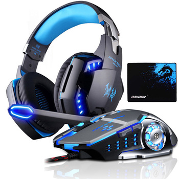 EACH G2000 Gaming Headset Deep Bass Stereo Game Headphone with Microphone LED Light for PC Laptop PS4+Gaming Mouse+Mice Pad best computer gaming headset with microphone xiberia x13 virtual 7 1 channel headband stereo game headphone ecouteur for pc game