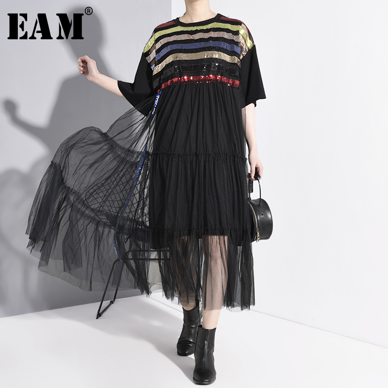 [EAM] Women Black Mesh Sequins Striped Big Size Dress New Round Neck Half Sleeve Loose Fit Fashion Spring Summer 2020 JT44201