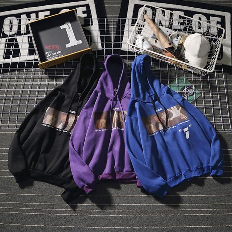 2020 Hot Harajuku print hip hop hoodie men funny Loose fashion casual Vintage Sweatshirt Oversized All-match black streetwear
