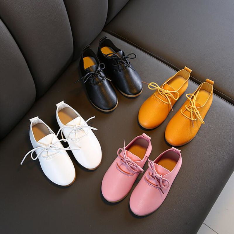 2020 Girls Leather Shoes White Solid Color Children Princess Shoes Concise Flats Lace Up Baby Shoe For New Year