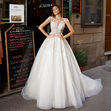 Verngo Ball Gown Wedding Dress 2020 Appliques Gowns Elegant Bride Flowers Boho Vestidos De Noiva