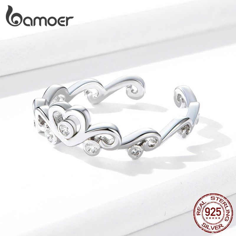 Bamoer 925 Sterling Silver Cuore Crown Anelli di Barretta Registrabile per Le Donne Dell'annata Aggancio di Cerimonia Nuziale Dei Monili Dichiarazione BSR105