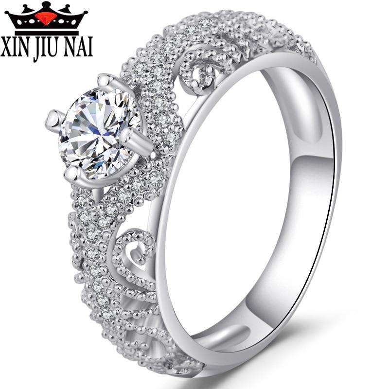 Fashion Luxury Classic Female Wedding Ring Hollow Design Inlaid With High Quality Zircon CZ Anniversary Gift Elegant Female Ring