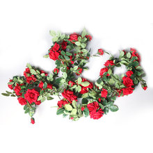 Ivy Vine Artificial Flowers Wedding Decorations Silk Rose  Arch Decor With Green Leaves Hanging Wall Garland