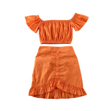 цены 2020 Toddler Baby Kids Girls Pure Outfits Boho Clothes Set Ruffle Short Sleeve Off Shoulder Crop Top+Pleated Long Skirt 2Pcs Set