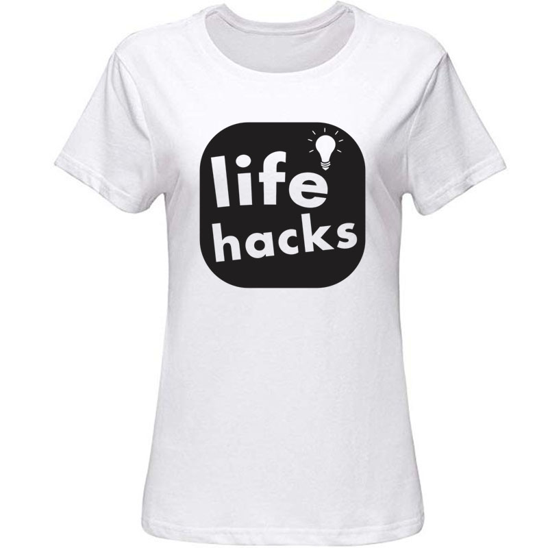 Print Life Hacks Tshirt Outfit Men's T Shirt Round Collar Awesome T-Shirts Male Female Hiphop Tops image