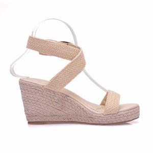 Image 4 - Sandalias de verano con plataforma y punta redonda para mujer, calzado informal con cuña y punta redonda