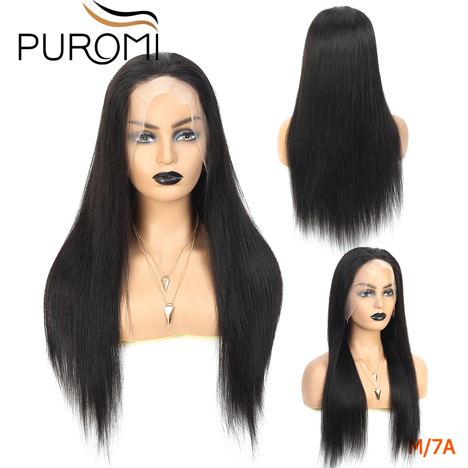 Puromi 360 Lace Frontal Wigs 150% Density Straight Lace Frontal Human Hair Wigs for Black Women Remy Hair Brazilian Lace Wig