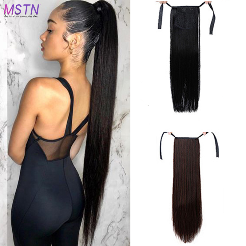 MSTN 5 Size Long Straight Synthetic Ponytail Strap Black/Brown Heat Resistant Wig Clip In Hair Extension Headwear