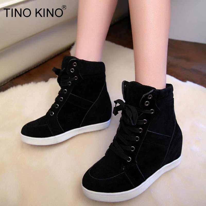 TINO KINO 2019 New Women Winter Height Increasing Suede Ankle Boots Warm Lace Up Ladies Plus Velvet Cotton Shoes Platform Female