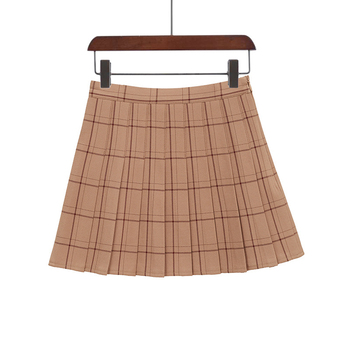 PEONFLY Sweet Women Pleated Skirt Fashion Plaid A-Line Mini High Waist Chic Skirt Kawaii Summer Casual Ladies Plaid Skirt - type2-1, XS