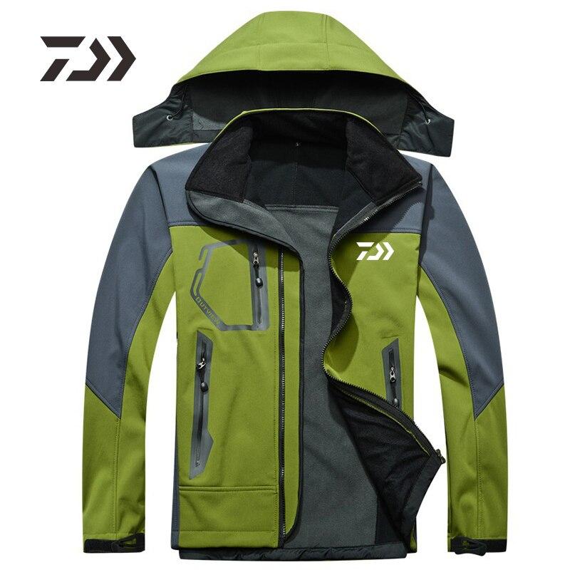 Daiwa 2020 New Fishing Jacket Autumn Winter Fleece Warm Hiking Camping Fishing Clothing Men Waterproof Hooded DAWA Fishing Shirt