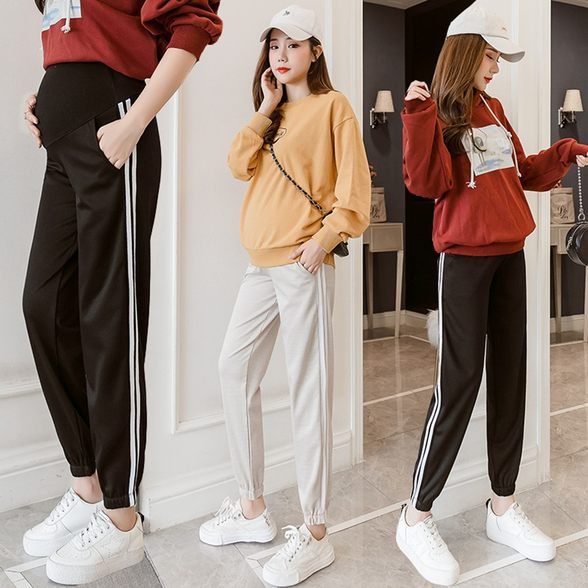 Autumn and winter new pregnant women's house pants fashion home side strips sweatpants pants