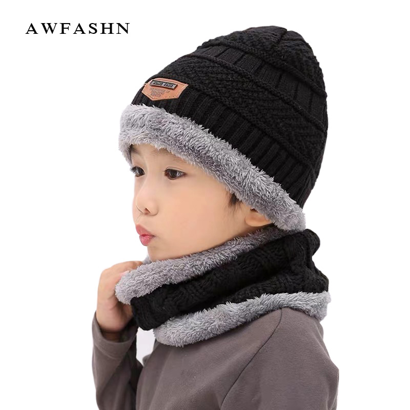 Children's Knit Hat Scarf Two-piece  Winter New Plus Velvet Thickening Baby Hat  Outdoor Warm Hat Scarf Boys /girls Fashion Wild