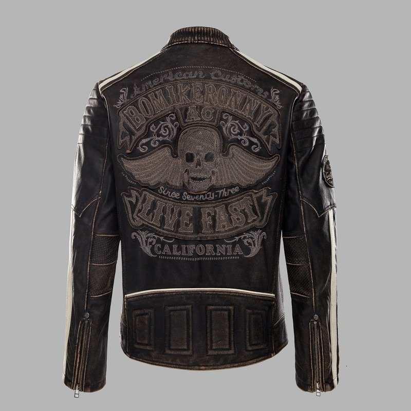 2020 New Vintage Black Motorcycle Leather Jacket Men Back Skull Embroidery Thick Cowskin Biker Jacket Winter Coats S-XXXL