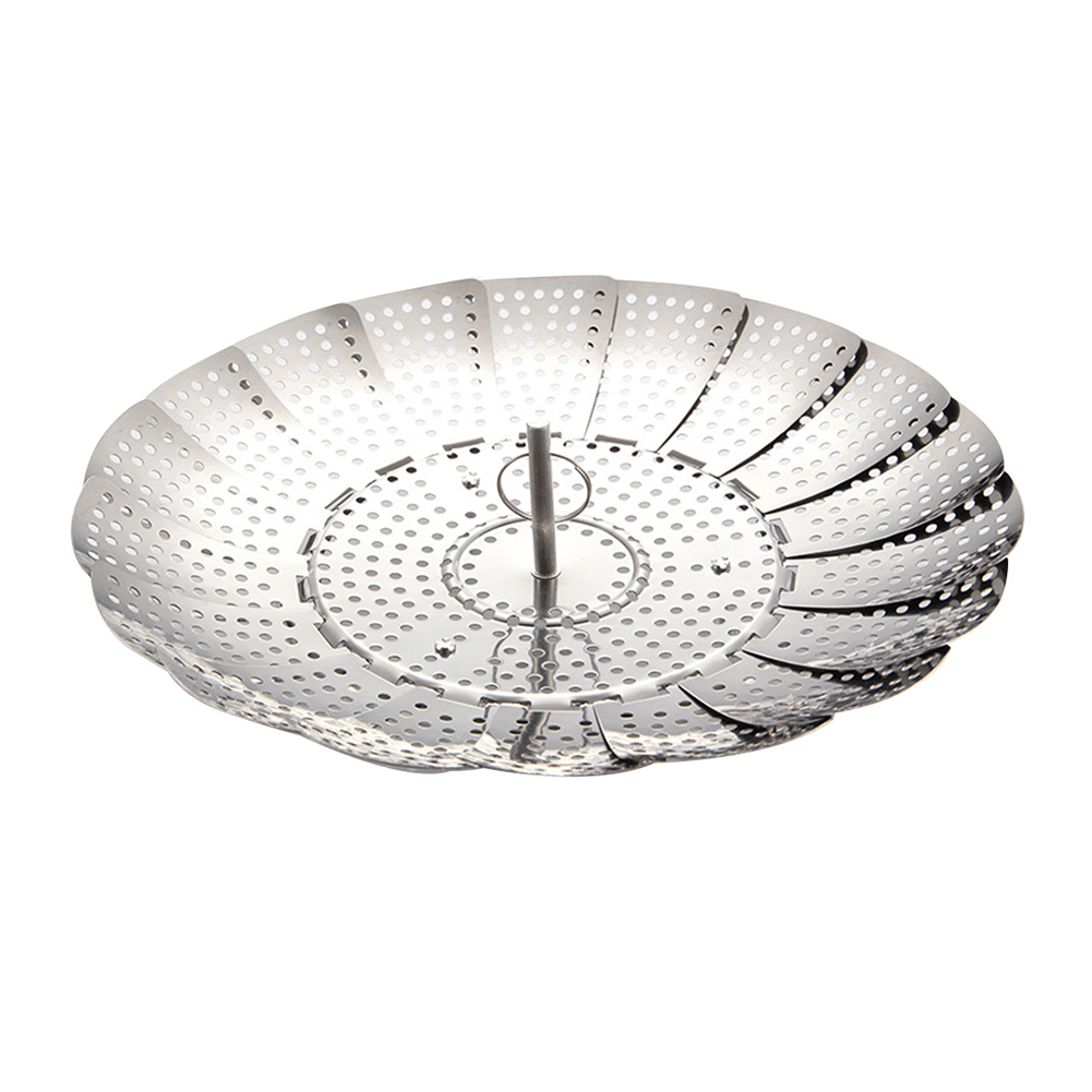 Expandable Food Stainless Steel Collapsible Steamer Basket Strainer Vegetable Mesh Folding Cooker