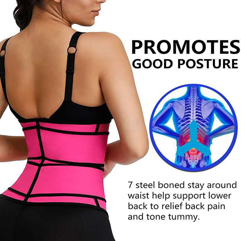 US Dropshipping Sweat Belt Waist Trainer for Women Weight Loss Compression Trimmer Workout Fitness Sweat Slimming Belt Shaper 4