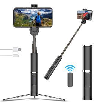 Trípode portátil integrado palo de Selfie soporte de teléfono oculto botón Bluetooth teléfono auto-temporizador soporte de palanca para Xiaomi Huawei