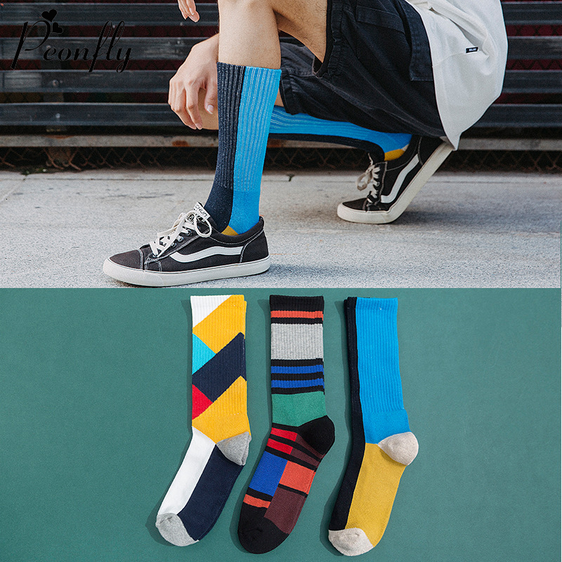 PEONFLY Novelty 2020 Autumn Winter Socks Men Colorful Geometry Thick Compression Socks Towel Bottom Calcetines Happy Socks