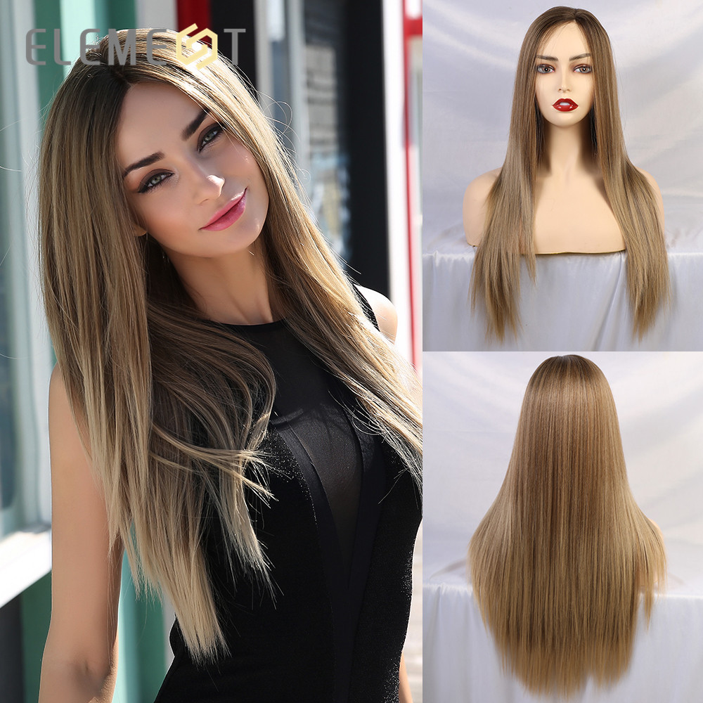 Element Long Straight Blonde Mix Brown Wig Synthetic Lace Front Wigs for White/Black Women Heat Resistant Fiber