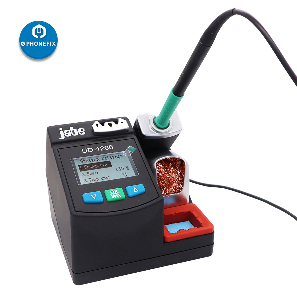 Tools : Jabe UD-1200 Soldering Iron Station Precision Lead free 2 5S Rapid Heating Soldering Iron Kit Dual Channel Power Heating System