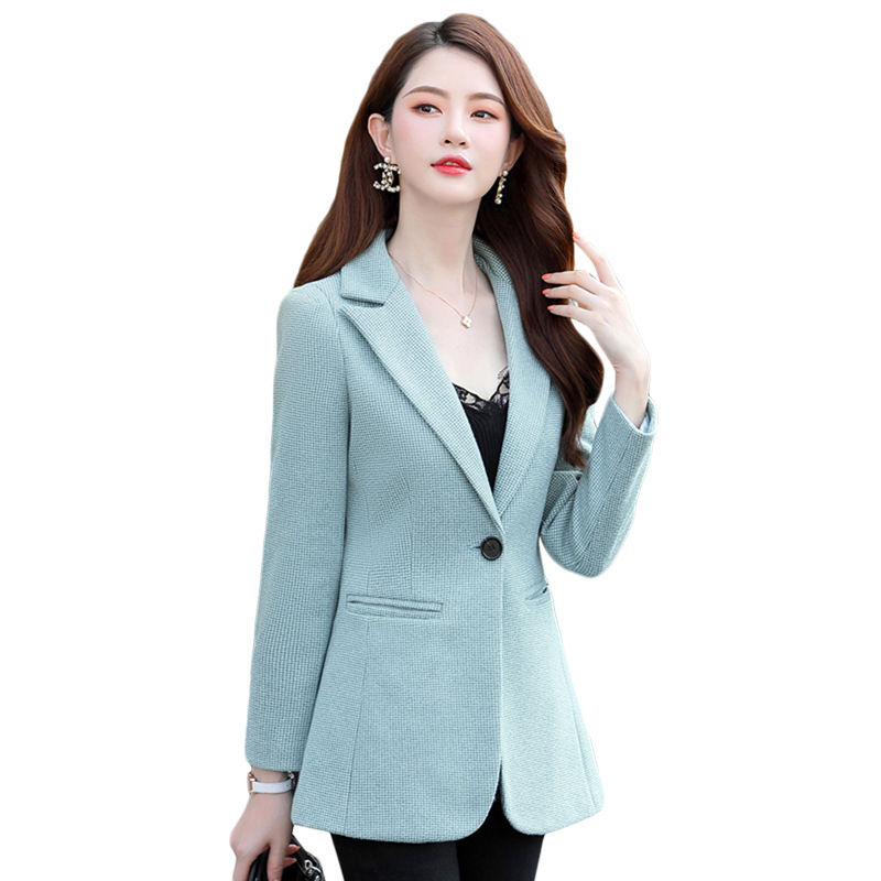 Women's high quality blazer Autumn and winter new slim long-sleeved small plaid suit female Korean casual jacket Office suit