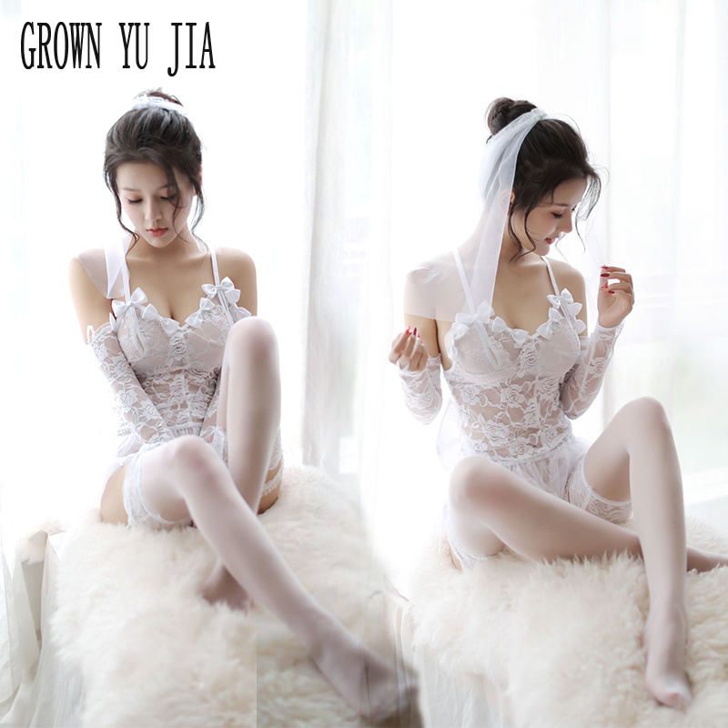 Sexy Women Babydoll Erotic White Bride Wedding Dress Cosplay Porn Lace Sling Lingerie Stockings Set Bride Uniforms Sex Costumes