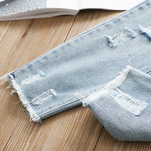 Image 4 - Boys and Girls Jeans 2020 Spring Hole Leisure Pants
