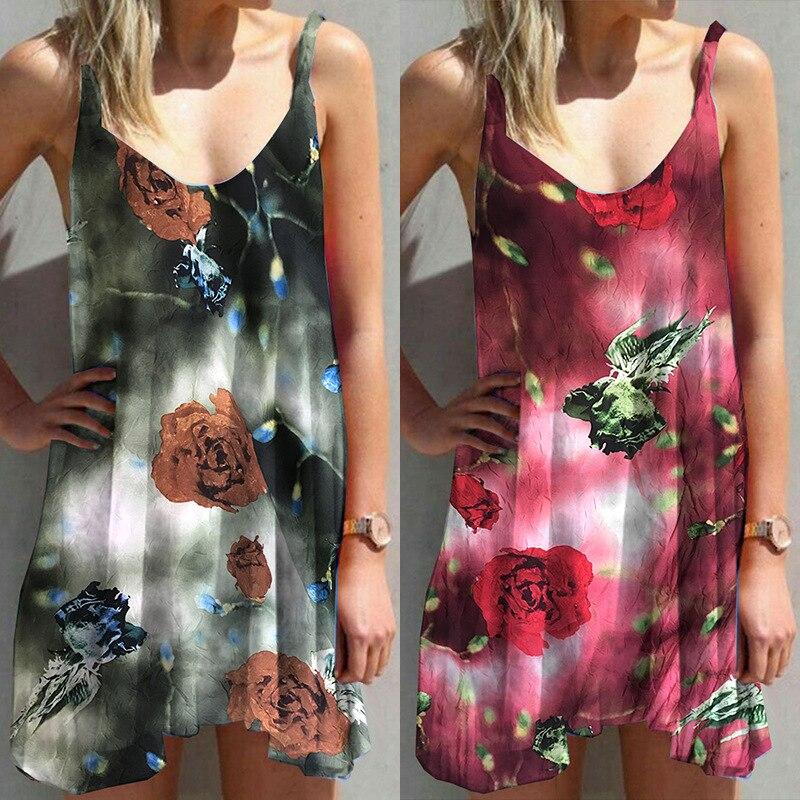 New Summer Sleeveless Tank Dress Women Fashion Print Boho Mini Dress Irregular Beach Party Dresses Clothing Plus Size