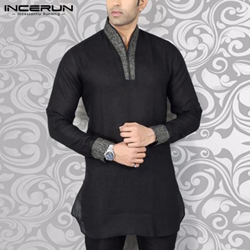 INCERUN Men Shirt Streetwear V Neck Long Sleeve Patchwork Fitness Vintage Casual Shirts Men Indian Clothes Kurta Plus Size 2020