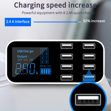 Çoklu 8 Port USB hızlı araç şarj cihazı LCD ekran adaptörü Iphone Xiaomi Samsung için Ipad için akıllı cihaz için evrensel araba hızlı şarj
