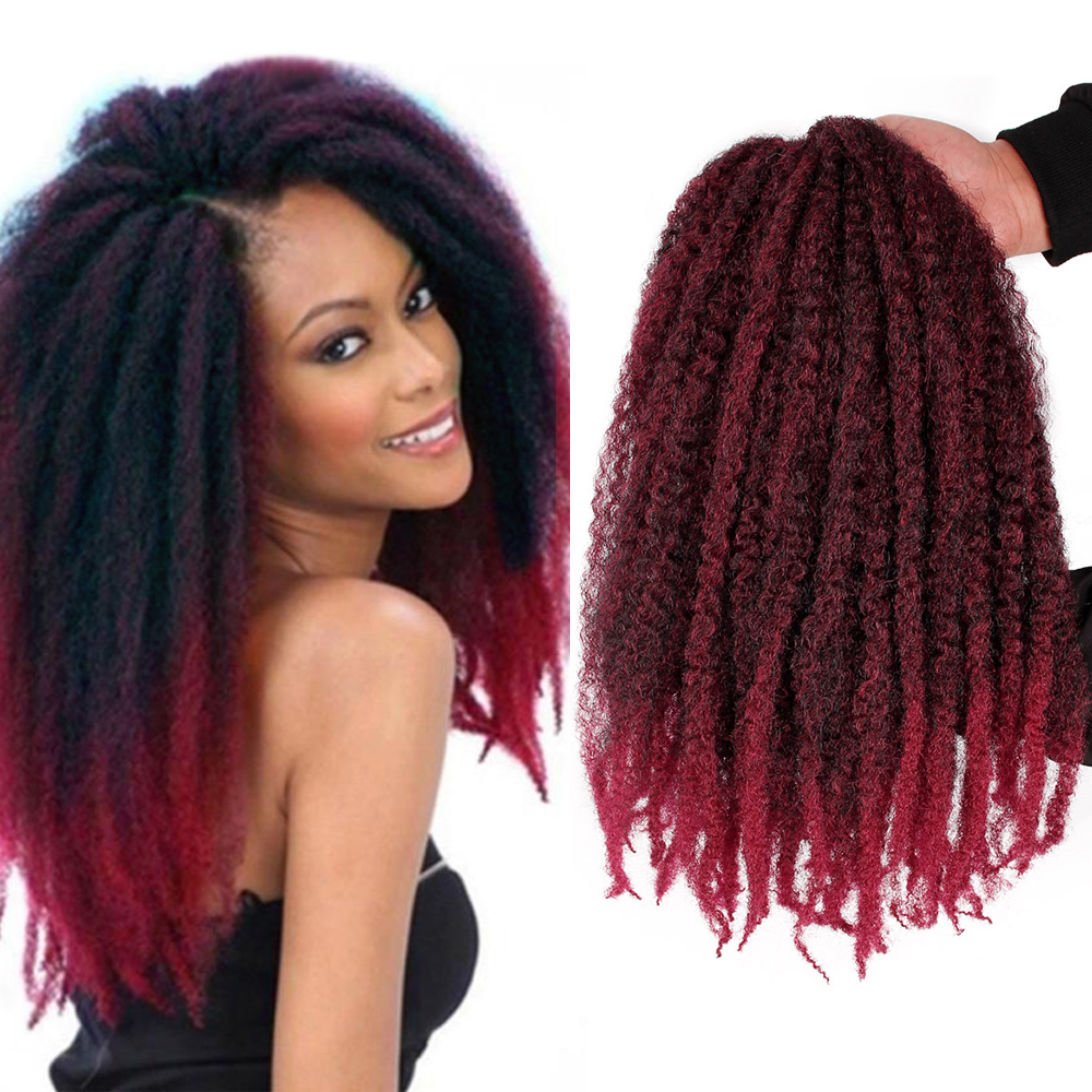 18 Inch Ombre Marley Braids Hair Crochet Afro Kinky Synthetic Braiding Hair Crochet Braids Hair Extensions For Black Women