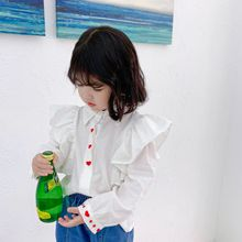 Хипстерская рубашка в Корейском стиле для девочек, белая рубашка со стоячим воротником рубашка для девочек с вышитым сердцем Однотонная рубашка