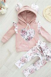 Blotona 2 pçs bebê menina flores 3d orelha hoodies camisola superior plissado calças roupas conjunto 0-24m