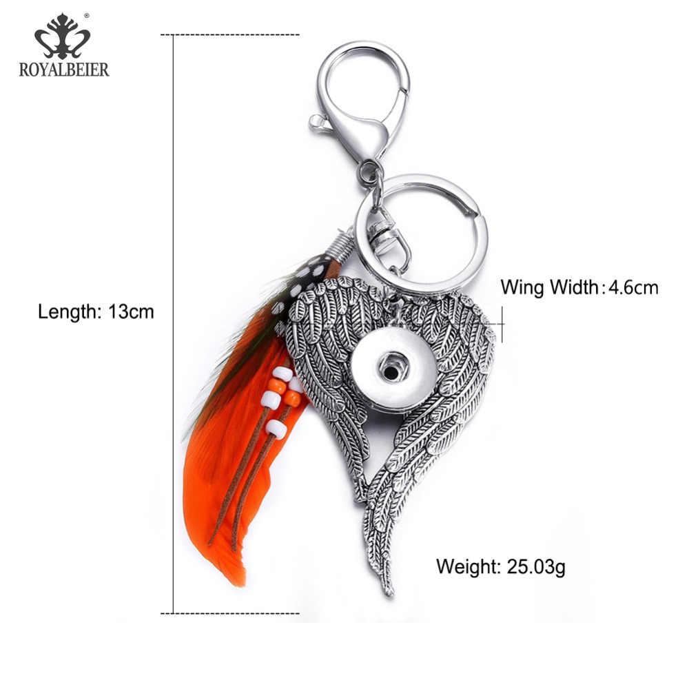 Royalbeier מעורב 5 יח'\חבילה Keychain קריסטל מתכת הצמד Keychain חרוזים Fit 18mm הצמד כפתורים יוניסקס הצמד מפתח מחזיק סיטונאי