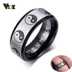 Vnox Traditional Chinese Ying Yang Rings for Men Woman 8MM Black Stainless Steel Exorcism Gossip Male Prayer Jewelry