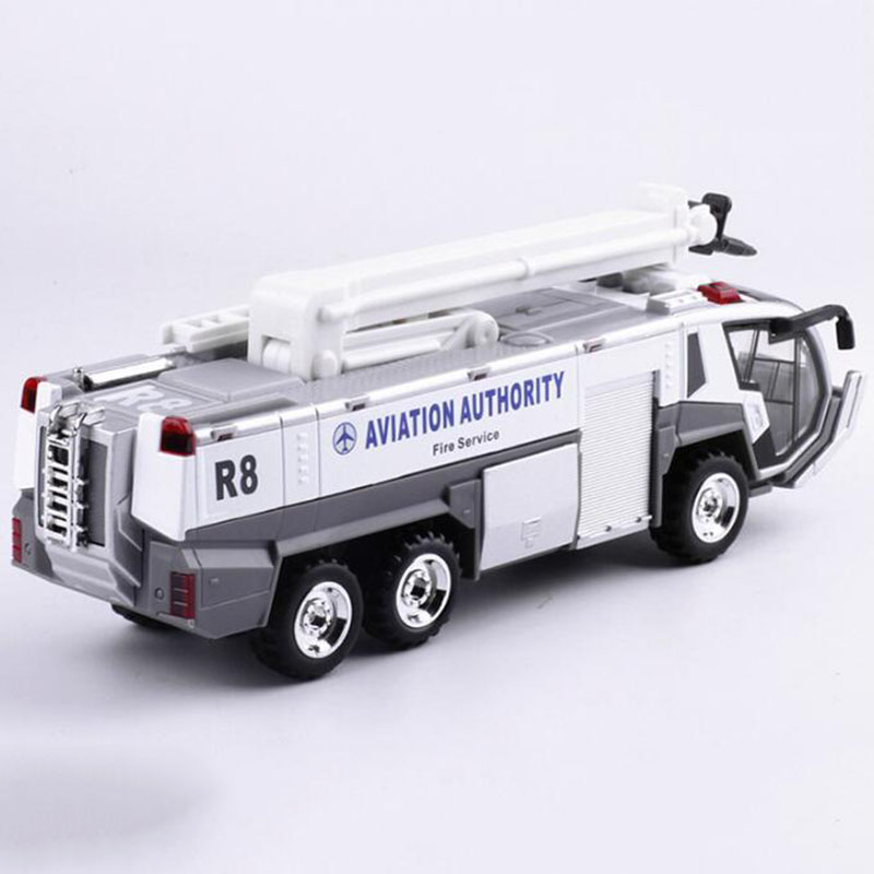 1:32 Scale Alloy Metal Aviation Authority Service Airport Fire Truck Airport Scene Pull Back Model Diecast Model Vehicle Toy