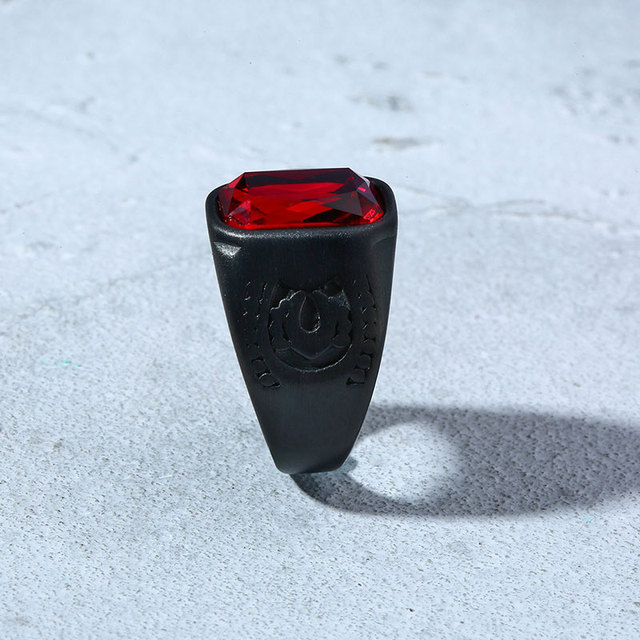 Red Black Geometry Stone Ring 10