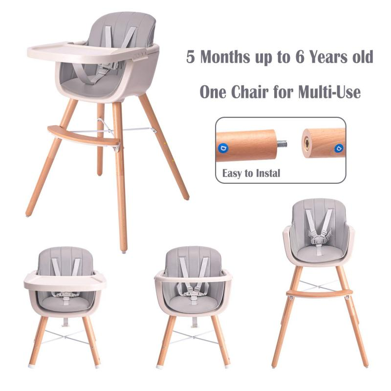 Wood Dining Chair High Chair Baby Dinner Table Multifunction Adjustable Children's Chairs For Children Baby High Chair HWC