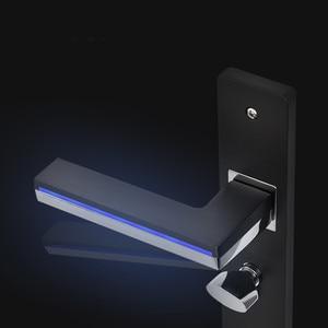 Image 3 - LED Light Door Handles for Interior Doors Zinc Alloy  Rosette and Plate Door Lever Set Wood Door Handle Lock