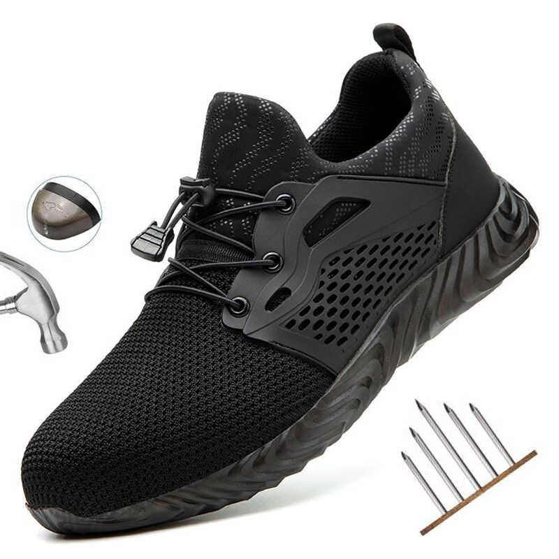 Yuxiang erkek güvenlik ayakkabıları çelik burunlu inşaat koruyucu ayakkabı delinmez ayakkabı iş ayakkabısı yıkılmaz ayakkabı