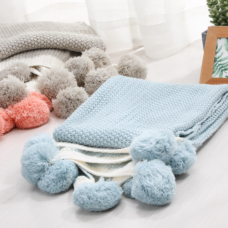 Do Ke Xin Polyester Knitted Baby Blanket Ball Comfortable Knitted Blanket Wholesale