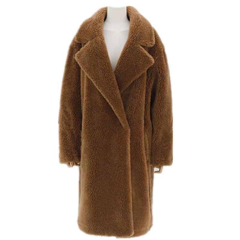 Winter Women Fashion Elegant Faux Lamb Fur Coat Thick Warm Faux Fur Overcoat XHSD-434