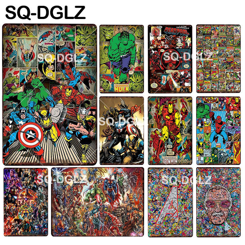 [SQ-DGLZ] Famous Alliance Poster Super Hero Tin Sign American Wall Decor Metal Crafts Painting Plaques Art Poster