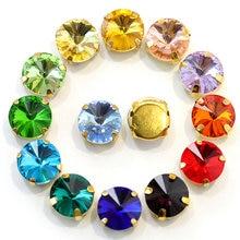 Rivoli-diamantes de imitación redondos para coser, diamantes de imitación redondos con garra dorada en miniatura, ropa con diamantes de imitación E7070