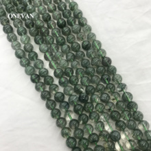 ONEVAN Green Crystal Quartz Beads 6mm 8mm 10mm Smooth Loose Round Stone Diy Bracelet Necklace Jewelry Making Gemstone Design onevan natural yellow jade faceted beads 6mm 8mm smooth loose round stone diy bracelet necklace jewelry making gift design