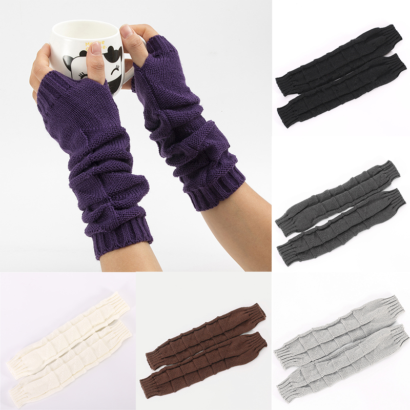Autumn Winter Women Combing Fine Knit Fingerless Gloves Thick Soft Knitted Woolen Arm Warmers Ladies Thumb-hole Arm Sleeve