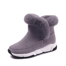 YeddaMavis Winter Boots Gray Women Snow Boots Women Shoes New British Style Warm Plush Ankle Snow Boots Womens Shoes Woman Shoes(China)